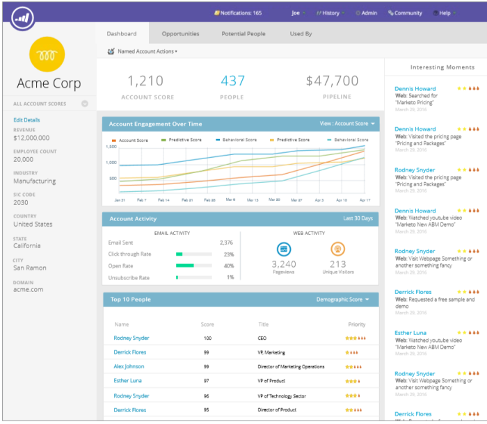 Marketo's Named Account Dashboard highlights the top individuals at a named account and their recent activity. Other metrics include firmographics, email performance indicators, pipeline value, and web activity.