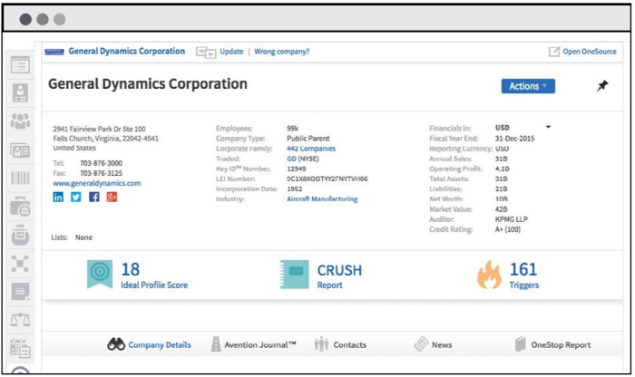 Avention offers OneSource for CRM connectors for SFDC, MS Dynamics, and Oracle for Sales Cloud (Oracle connector shown)