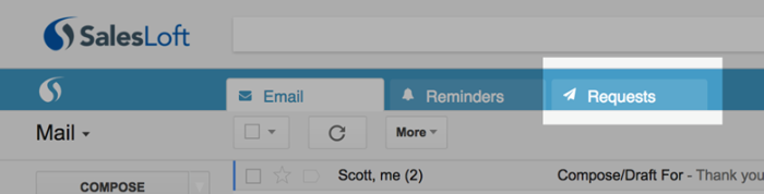 "A ""Draft on behalf"" Requests tab provides a queue of pending CSR-written emails for review and transmission."