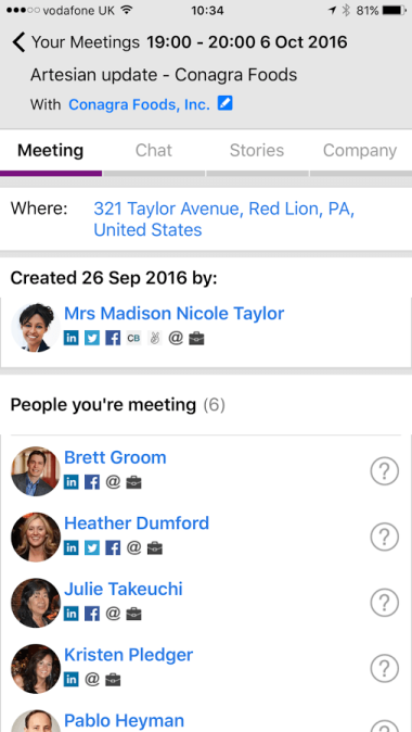 The Artesian Ready app supports company and contact profiles for meeting attendees, shared meeting notes, and event triggers.