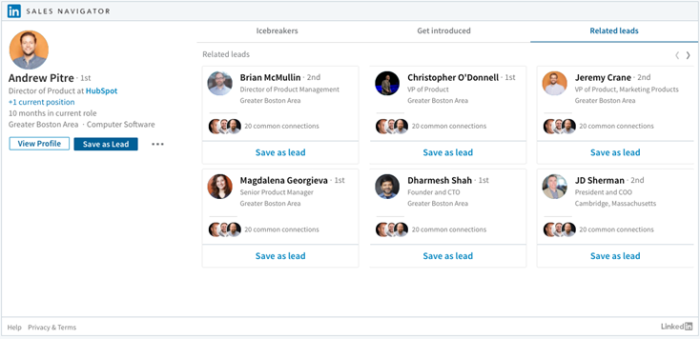 Sales Navigator contact intelligence and functions within Hubspot CRM