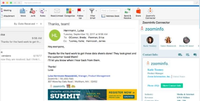 The new Zoominfo Connector for Outlook displays inline company and contact intelligence for each of the parties on an email. This feature helps with researching buying committee members and influencers.