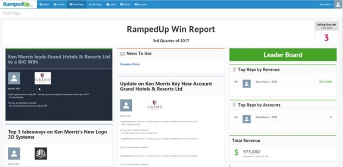 RampedUp front page with win stories and a Leader Board.