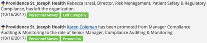 Executive Change Alerts from the Legal and Compliance database.