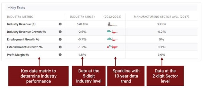 IBISWorld Key Facts help sales reps quickly assess industry financial trends and provide a set of C-level talking points.