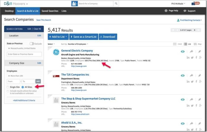 Users can now filter by corporate employee counts or location employee counts. Both numbers appear in the results list.