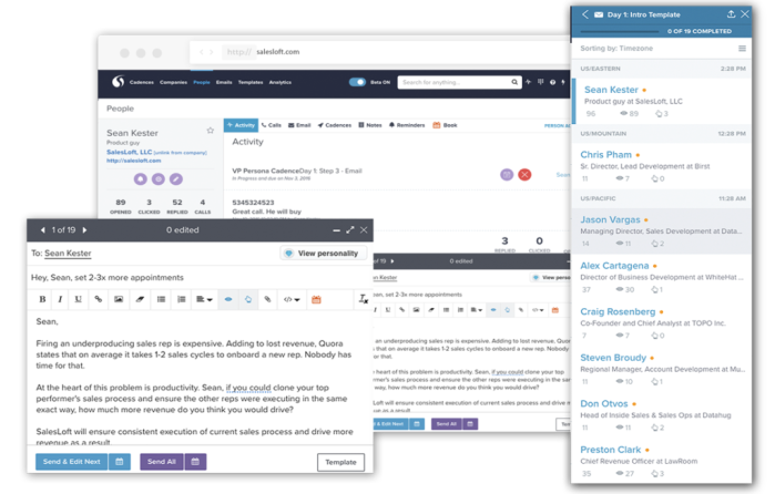 SalesLoft supports email templates and cadences for managing multi-channel communications.