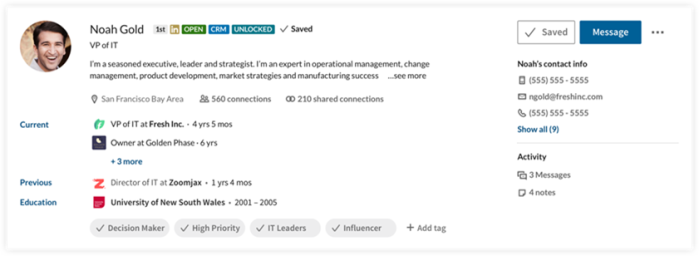The Detailed Lead Summary section includes contact intelligence pulled from the CRM..