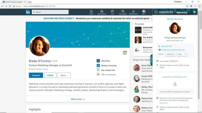 ReachOut 2.0 identifies LinkedIn pages and URLs and maps them to ZoomInfo Intelligence. Profiles, which include firmographics, emails, and direct dials, may then be quickly uploaded to CRMs or sales engagement platforms..