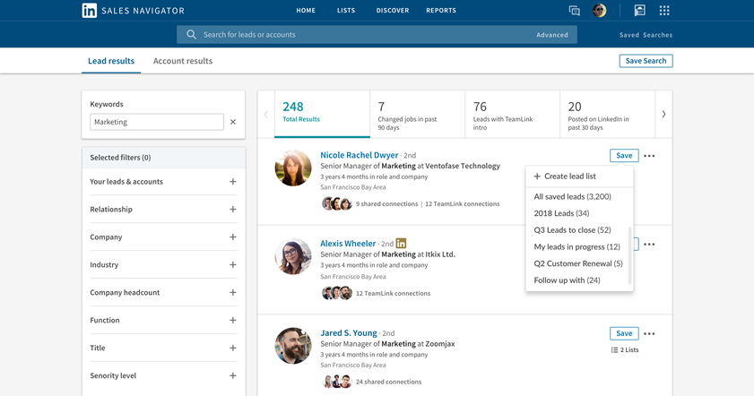 LinkedIn Sales Navigator added Custom Account and Lead lists.