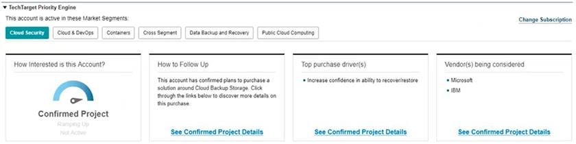 TechTarget Confirmed Projects are displayed within Salesforce Account i-frames.